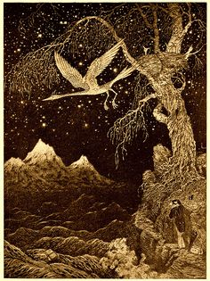 "Sidney Sime (English, 1867-1941). There Stood That Lonely, Gnarled And Deciduous Tree. Illustration from Lord Dunsany's ""The Last Book Of Wonder,"" 1916."