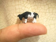 Miniature Cow  Micro Crochet Tiny Stuffed Animal  Made To by SuAmi