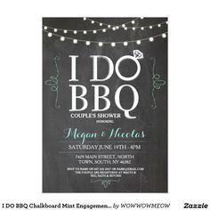 I DO BBQ Chalkboard Mint Engagement Party Invite