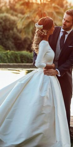 24 Satin Wedding Dresses For The Minimalist Bride is part of Wedding dress guide - Looking for a minimalism, simple and cute bridal gown We know what to offer you in this style — satin wedding dresses See our gallery and get inspired! Princess Wedding Dresses, Modest Wedding Dresses, Bridal Dresses, Bridesmaid Gowns, Event Dresses, Modest Outfits, Occasion Dresses, Wedding Bride, Lace Wedding