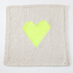 OffWhite and Neon Yellow Knitted Heart Baby or by YarningMade, $95.00