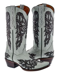 Womens White Studded Cross Wings Design Leather Cowboy Cowgirl Boots  | eBay