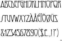 Maigret, an Art Nouveau style font. Designer: David Farey. Publisher: Monotype Imaging.  No lower-case characters.