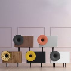 Sweet musical tunes can be heard from the Caruso by Miniforms, designed by Paolo Cappello. Fun and playful, this retro-modern sound system and cabinet is equipped with a bluetooth audio connection system. Audio Design, Speaker Design, Sound Design, Stereo Cabinet, Scandinavian Christmas, Cabinet Design, Inspired Homes, Design Awards, Retro