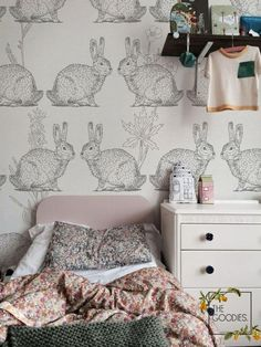 Bunny Wallpaper from The Goodies Wallpapers on Etsy Rabbit Wallpaper, Drawing Wallpaper, Paper Wallpaper, Wall Wallpaper, Kids Wall Murals, Nursery Wall Murals, Kindergarten Wallpaper, Be Light, Kids Room Wallpaper