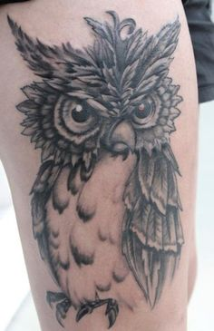 owl tattoo was thinking about this as an upper outter thigh tattoo, but then to add a backround of some-sort.