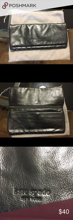 Kate Spade metallic clutch Kate Spade metallic grey clutch. Dust bag included. kate spade Bags Clutches & Wristlets