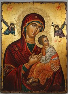 High quality hand-painted Orthodox icon of Virgin of Perpetual Succour (Cretan). BlessedMart offers Religious icons in old Byzantine, Greek, Russian and Catholic style. Religious Images, Religious Icons, Religious Art, Byzantine Icons, Byzantine Art, Architecture Religieuse, Paint Icon, Russian Icons, Blessed Mother Mary