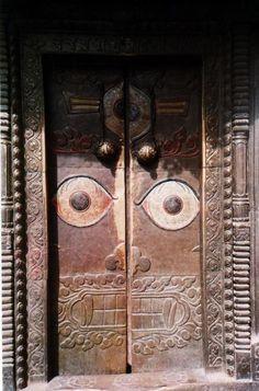 ✯ Doors with eyes at Bijeshwori Hill Temple, Kathmandu, Nepal✯