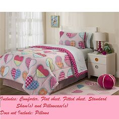 Mainstays Kids I Heart Bed in a Bag Bedding Set Twin * Details can be found by clicking on the image.