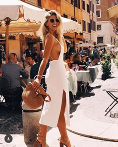 Braless beauty: Natasha Oakley (pictured) swapped her bikini-clad style for a silk white dress as she flaunted plenty of sideboob during a sunny trip to Rome, Italy on Thursday Natasha Oakley, Look Fashion, Fashion Outfits, Womens Fashion, Fashion Clothes, Fashion Weeks, Fashion Trends, Fall Fashion, Fashion Tips