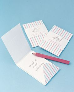 Practical notebook favors disguised as chic matchbooks