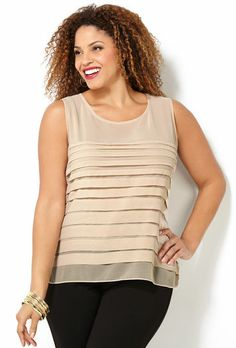 SL PLEATED FRONT SHIRT, Beige - cute, under a short , fitted blazer