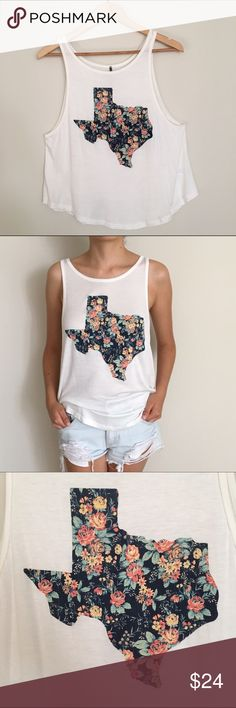 Texas Floral Tank Top Made in USA. Texas floral tank top. 95% rayon 5% spandex. Available sizes: small, medium and large. Tops Tank Tops
