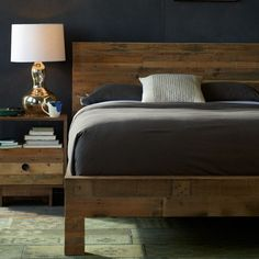 reclaimed timber pine bed or new par pine made to look like reclaimed timber
