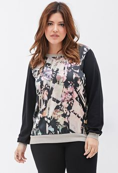 Woven-Paneled Abstract Print Blouse | FOREVER21+