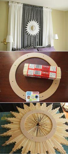 Very Cool DIY Sunburst Mirror Of Wood Shims