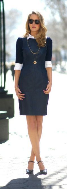 navy leather sheath dress + white oxford shirt