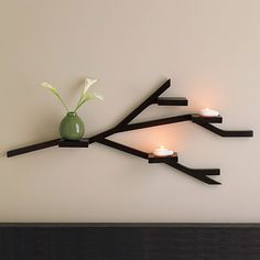 Artistic Wall Shelves Bar In Branch Shape For Displays And Candle Place: Cool Stylish Wall