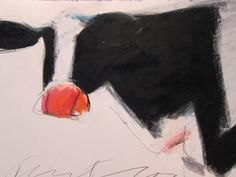 cow on right, color pencil drawing
