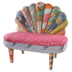 Multicolor peacock loveseat with a mango wood frame and scalloped back. Made with reclaimed vintage kantha throws.Product: Lovese...