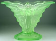 1930S Walther & Sohne Butterfly moulded Uranium glass Art Deco vase