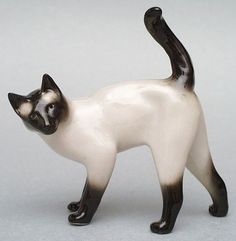 Very Rare Russian Great Quality Porcelain Siamese Cat Figurine LOMONOSOV Factory Marked.