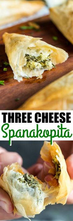 Spanikopita Triangles filled with spinach and three cheeses take your cocktail party from semi-homemade to gourmet. Plus all my tips on working with phyllo! via @culinaryhill
