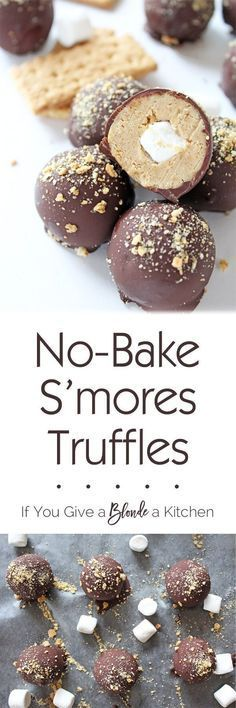 S'mores truffles are no-bake summertime treats made with crushed graham crackers, marshmallow fluff, melted chocolate and a mini marshmallow hiding inside! | Recipe on www.ifyougiveablo...