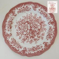 "Vintage English Red Toile Pink Transferware 10"" Dinner Plate Big Cabbage Roses Daisies"