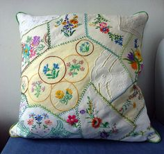 Crazy Patchwork cushion - fantastic idea to recycle the good bits when find damaged vintage pieces