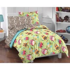 Bright Multicolor Cartoon Hoot Owls comforter set. An idea for my little owl lover.