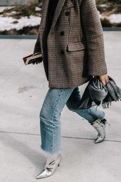Tweed Blazer, Raw Hem Denim, Silver Metallic Boots