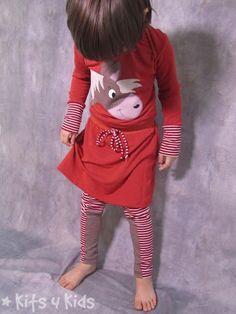 Retrokleid Kid5 mit Pferdeapplikation, Elsi & Elliot Minamo, Multifit Leggings Erbsenprinzessin