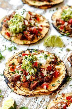 carne asada street tacos laying flat loaded with carne asada, guacamole, pico de gallo Carne Asada, Best Mexican Recipes, Favorite Recipes, Quesadillas, Beef Recipes, Cooking Recipes, Guacamole, Good Food, Junk Food