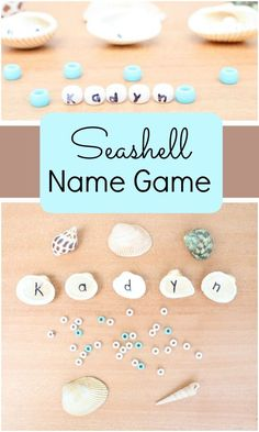 Seashell Name Game-Preschoolers practice matching letters and spelling their names with letter pearls in this ocean theme activity for summer
