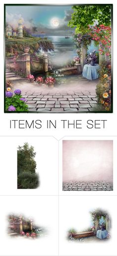 """""""Terrace in the Moonlight"""" by lois-boyce-flack ❤ liked on Polyvore featuring art, moon and sea"""
