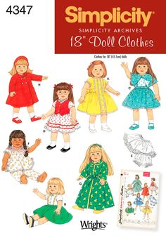 18 inch Doll Clothes sewing pattern vintage 4347 Simplicity