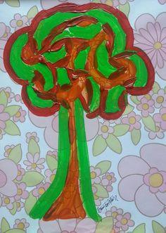 POP TREE - acrylic on vynilic - cm. 55x40 ... by Zeno Travegan (Enzo Gravante)