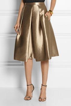 Tibi Halcyon metallic pleated taffeta skirt NET-A-PORTER.COM