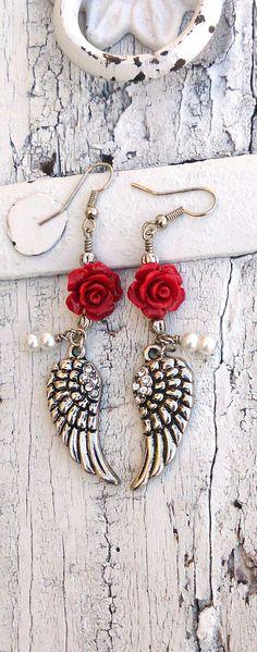 Red Rose Wing Earrings Crystal ANGEL WING earrings by SecretStashBoutique