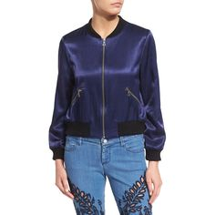 Alice + Olivia Lonnie Zip-Front Satin Bomber Jacket ($430) ❤ liked on Polyvore featuring outerwear, jackets, navy, navy bomber jacket, navy blue bomber jacket, zip front jacket, long sleeve jacket and straight jacket