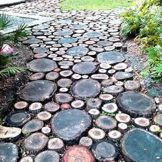 martha stewart living - wood cookie / tree stump walkway