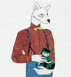 """embroidery by artist, Jazmin Berakha from Buenos Aires, Argentina    this was the Cover Art for Ulises Conti's """"Posters Privados""""   dog in red shirt and suspenders holding white kitten in green...strange, but i like it."""