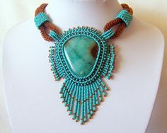 Bead Embroidery Necklace Pendant Beadwork with Green Lace Chalcedony - TURQUOISE LIFE - turquoise - brown