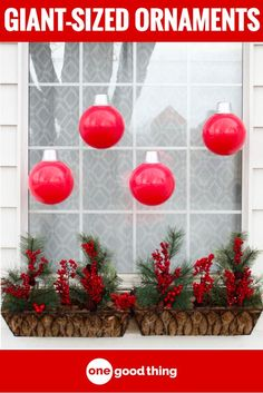 To Make Cheap and Easy Giant Christmas Ornaments Learn how easy it is to make adorable oversized ornaments to add to your Christmas decor. Minimal effort for maximum visual impact!Cheap Thrills Cheap Thrills may refer to: Large Christmas Ornaments, Christmas Yard, Whimsical Christmas, Handmade Christmas Decorations, Christmas Balls, Christmas Projects, Holiday Crafts, Christmas Wreaths, Christmas Ideas