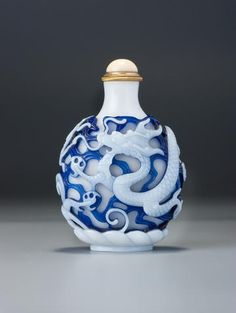Glass Overlay;  DOUBLE;  translucent milky white on transparent sapphire-blue on translucent white glass;