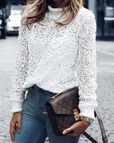#fall #outfits White Lace Top // Jeans // Shoulder Bag