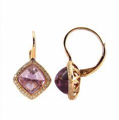 14 karat rose gold, cushion cut cabachon Amethyst and diamond lever back earring