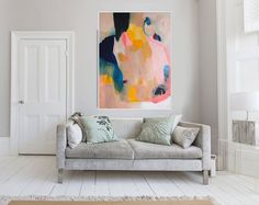 """Large Original Abstract giclée print of  Painting, beige yellow and  blue painting """"Out of Her Loop"""""""